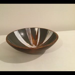 Large Painted Wood Bowl